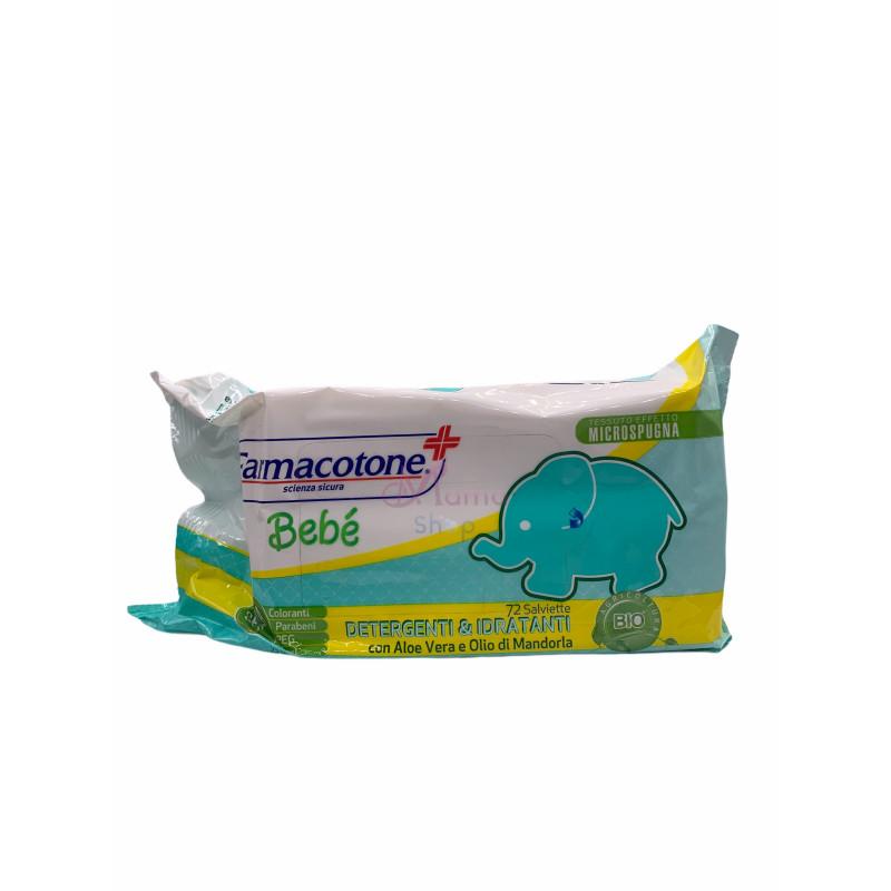 Farmacotone salviettine bebè detergenti e idratanti con aloe vera e olio di mandorla x72 pz